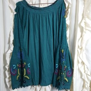 Double D Ranch embroidered bell sleeve peasant top